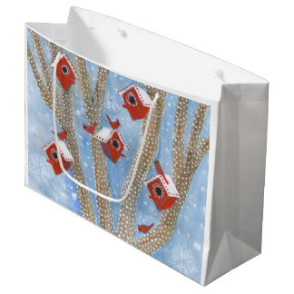 Christmas Cardinals with Birdhouses in Tree Large Gift Bag