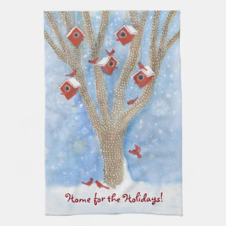Christmas Cardinals with Birdhouses in Tree Kitchen Towel