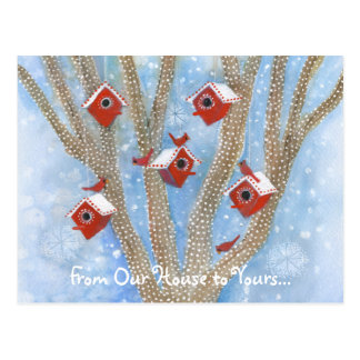 Christmas Cardinals with Birdhouses in Tree Post Cards