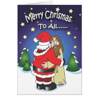 Christmas cards, Santa Hugging Jesus