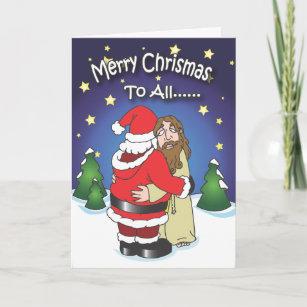 christmas cards santa hugging jesus holiday card - Jesus Christmas Cards