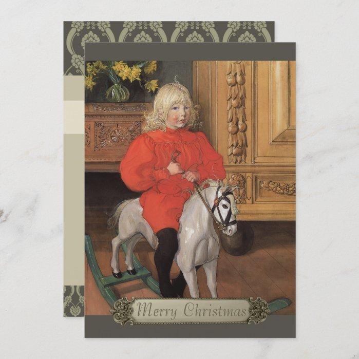 Christmas Carl Larsson Boy on rocking horse CC1065 Holiday Card