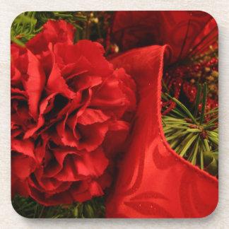Christmas Carnations; Merry Christmas Coaster