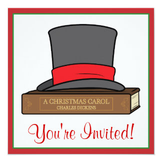 Christmas Carol and English Top Hat Party Card
