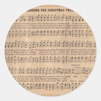 Christmas Carol: Around the Christmas Tree Classic Round Sticker