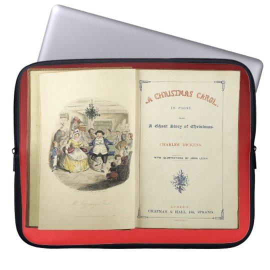 Christmas Carol, by Charles Dickens, Frontispiece Laptop Sleeve