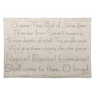 Christmas Carol Lyrics Song Celebrate Jesus Placemat