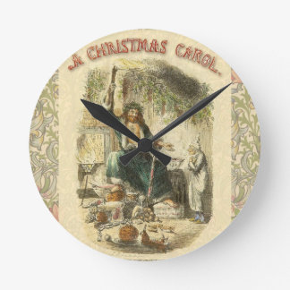Christmas Carol Scrooge Ghost Present Artwork Round Clock