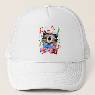 Christmas Carol Singing Kitty Trucker Hat