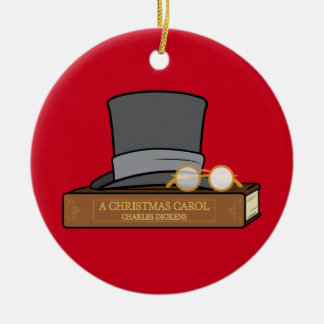 Christmas Carol with Top Hat Ceramic Ornament