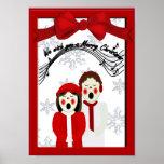 Christmas Caroler Couple Merry Christmas Poster