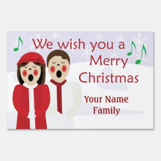 Christmas Caroler Couple Snowflake Custom Sign