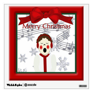 Christmas Caroler Man Boy Wall Decal