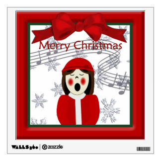 Christmas Caroler Woman Wall Decal