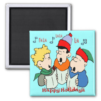 Christmas Carolers 2 Inch Square Magnet