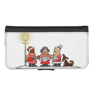 Christmas Carolers And Singing Dog Phone Wallet Case