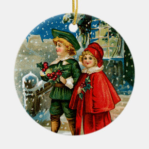 christmas carolers ceramic ornament