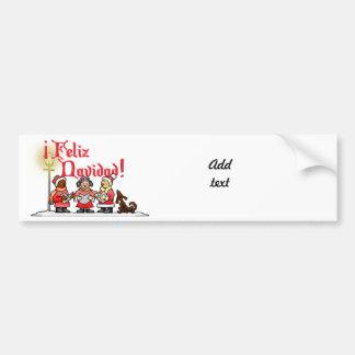 Christmas Carolers - Feliz Navidad Car Bumper Sticker