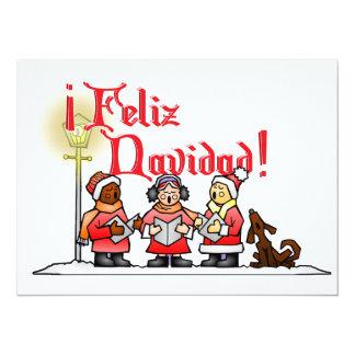 "Christmas Carolers - Feliz Navidad 5.5"" X 7.5"" Invitation Card"