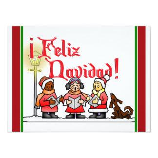 "Christmas Carolers - Feliz Navidad 6.5"" X 8.75"" Invitation Card"