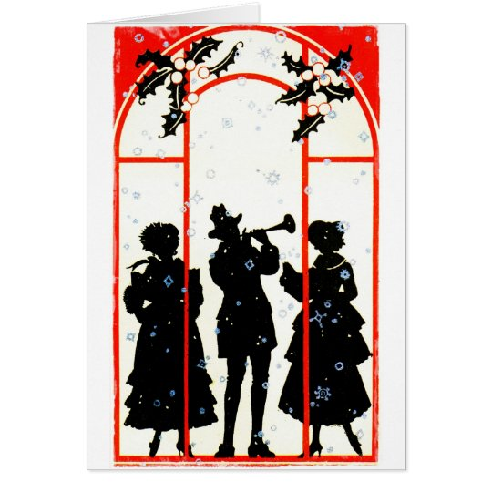 Christmas Carolers Silhouette 1920 Card