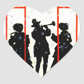 Christmas Carolers Silhouette 1920 Heart Sticker