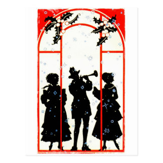 Christmas Carolers Silhouette 1920 Postcards