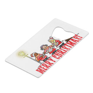 Christmas Carolers Sing Merry Christmas Credit Card Bottle Opener at Zazzle