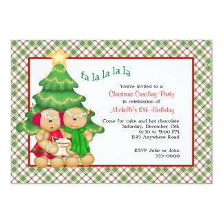 "Christmas Caroling Birthday Invitation 5"" X 7"" Invitation Card"