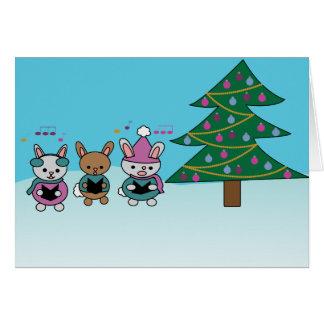 Christmas Caroling Bunny Rabbits Card