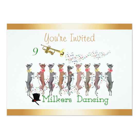 Christmas Caroling Goats Invitation