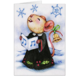 Christmas Caroling Mouse Singing Holiday Cute Card