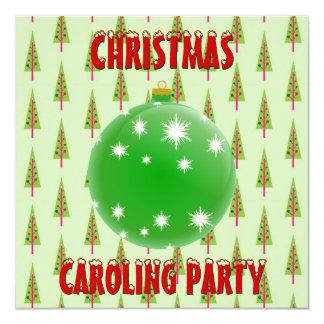 Christmas Caroling Party Green Ornament Xmas Trees Card
