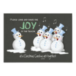 Christmas Caroling Party Singing Snowmen Joy 5x7 Paper Invitation Card