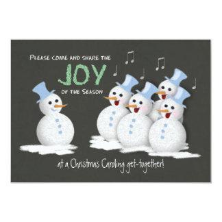 Christmas Caroling Party Singing Snowmen Joy Card