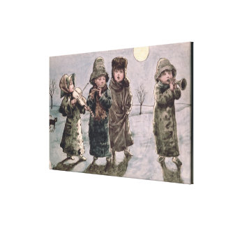 Christmas Caroling (w/c on paper) Canvas Print