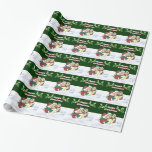 Christmas Carollers, holly berries, snow scene Wrapping Paper