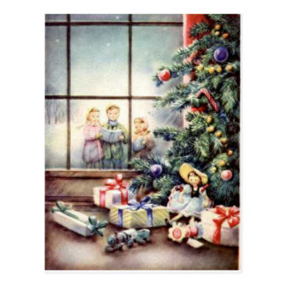 Christmas Carollers in Window Post Card
