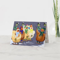 Christmas Carolling Chickens card! Holiday Card