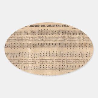Christmas Carols: Around the Christmas Tree Oval Sticker
