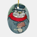 Christmas Carol's EbeMeowzer Scrooge Double-Sided Oval Ceramic Christmas Ornament