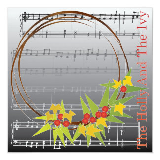 Christmas Carols Holly Card/Invitation Card
