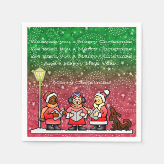 Christmas Carols Red and Green Party Napkins Standard Cocktail Napkin