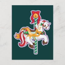 Christmas Carousel Holiday Postcard