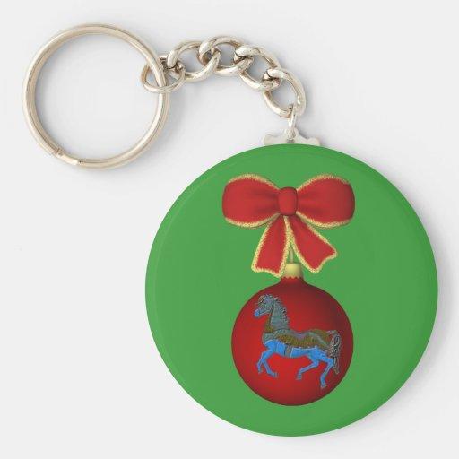 Christmas Carousel Horse Bow Holiday Keychain