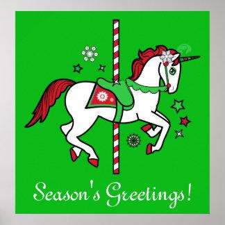 Christmas Carousel Season's Greetings Poster