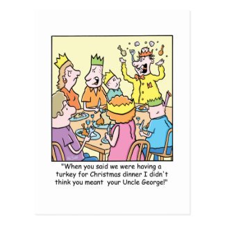 Christmas Cartoon about relatives. Postcard