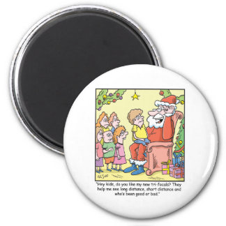 Christmas Cartoon about Santas New Glasses 2 Inch Round Magnet