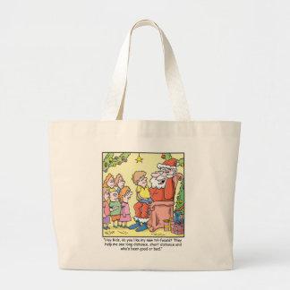 Christmas Cartoon about Santas New Glasses Tote Bag