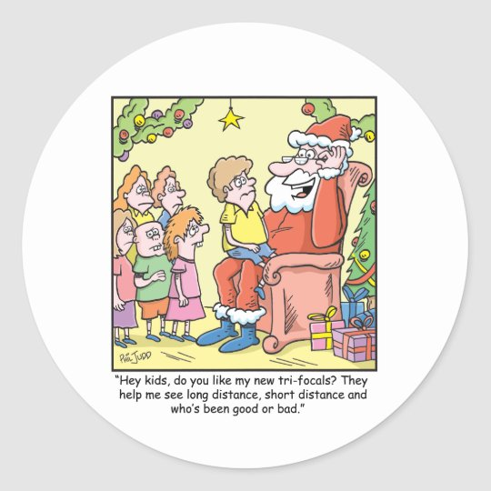 Christmas Cartoon about Santas New Glasses Classic Round Sticker